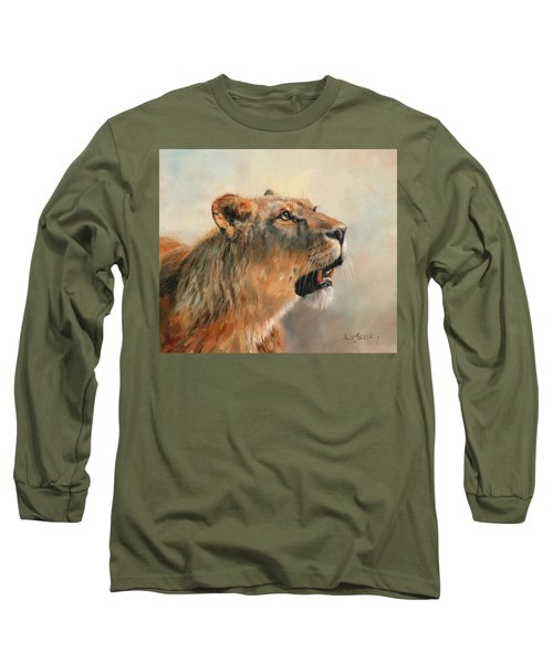 Long Sleeve T-Shirt featuring the painting Lioness Portrait 2 by David Stribbling