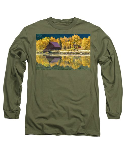 Little Barn By The Lake Long Sleeve T-Shirt by Teri Virbickis
