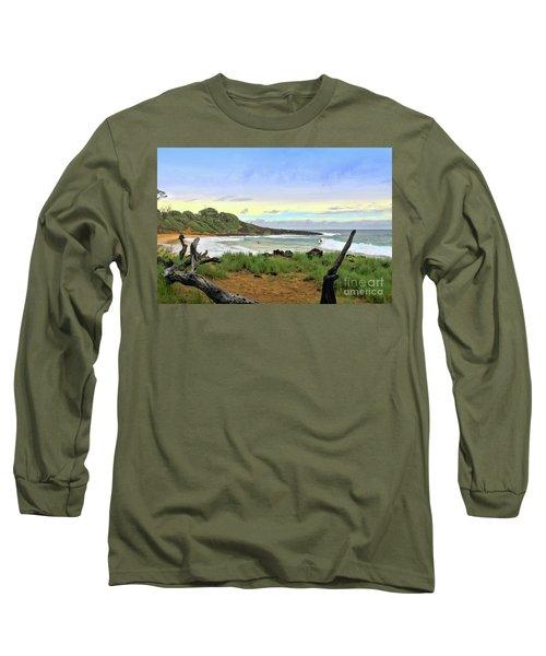 Long Sleeve T-Shirt featuring the photograph Little Beach by DJ Florek