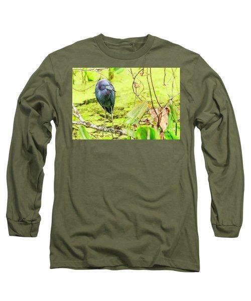 Little Blue Heron At Ollie's Pond Long Sleeve T-Shirt