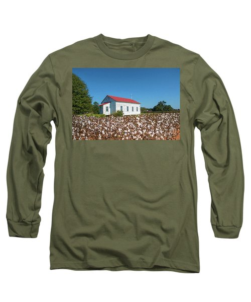 Little Church In The Cotton Field Long Sleeve T-Shirt by Bonnie Barry