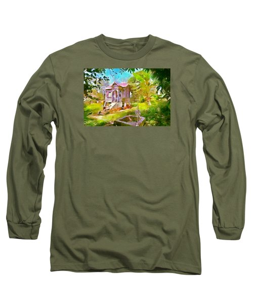 Caribbean Scenes - Little Country House Long Sleeve T-Shirt by Wayne Pascall
