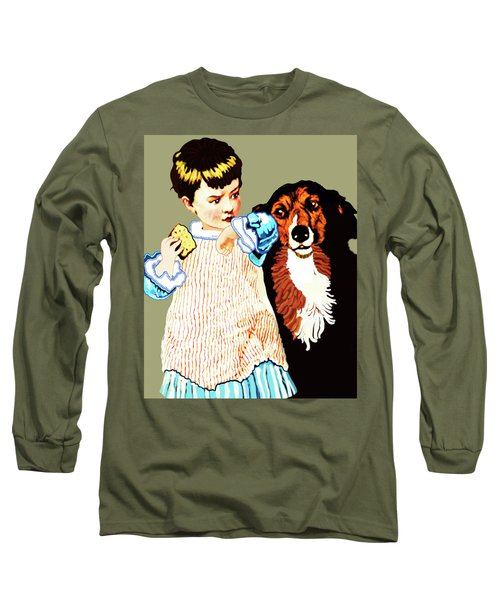 Little Girl With Hungry Mutt Long Sleeve T-Shirt