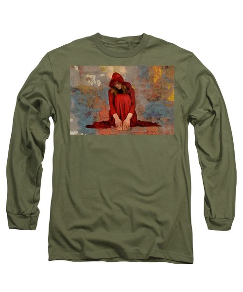 Long Sleeve T-Shirt featuring the mixed media Little Mel Riding Hood by Trish Tritz