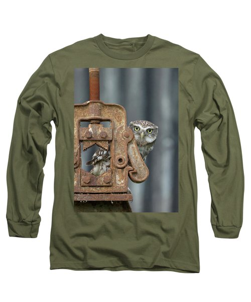 Little Owl Peeking Long Sleeve T-Shirt