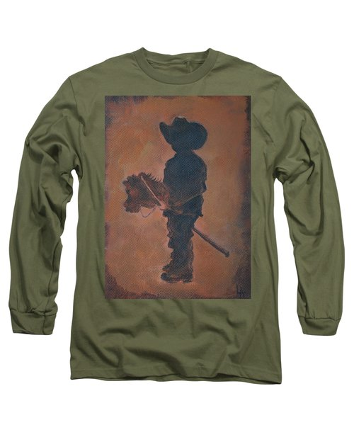 Long Sleeve T-Shirt featuring the painting Little Rider by Leslie Allen