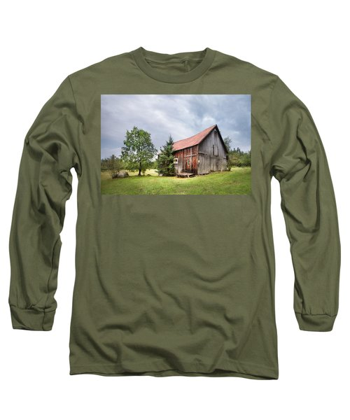 Long Sleeve T-Shirt featuring the photograph Little Rustic Barn, Adirondacks by Gary Heller