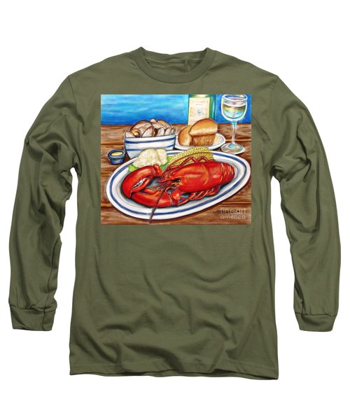 Lobster Dinner Long Sleeve T-Shirt by Patricia L Davidson
