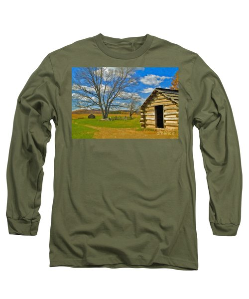 Long Sleeve T-Shirt featuring the photograph Log Cabin Valley Forge Pa by David Zanzinger