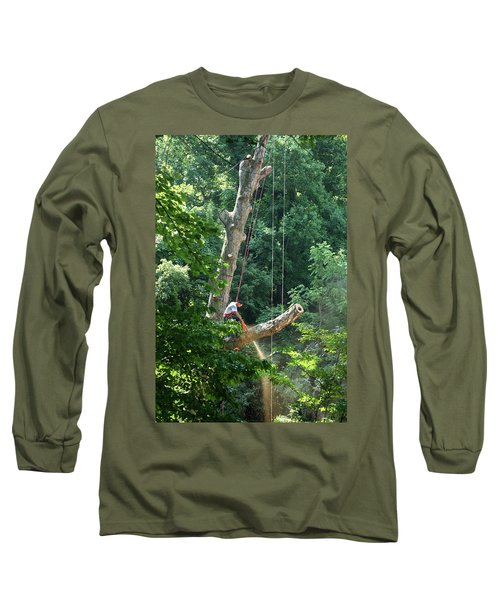 Long Sleeve T-Shirt featuring the photograph Logger Cutting Down Large, Tall Tree by Emanuel Tanjala