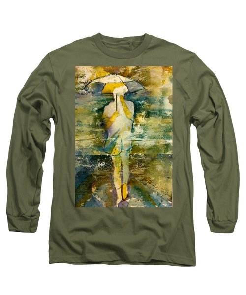 London Rain Theme Long Sleeve T-Shirt by Debbie Lewis