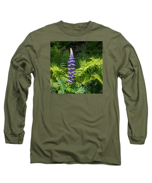 Lone Blue Lupine Long Sleeve T-Shirt by Allan Levin