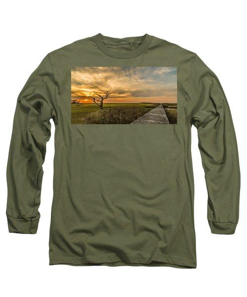 Lone Cedar Dock Sunset - Dewees Island Long Sleeve T-Shirt