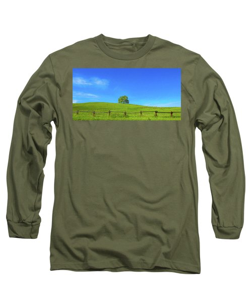 Lone Tree On A Hill Digital Art Long Sleeve T-Shirt