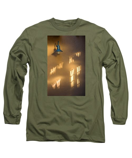 Long Sleeve T-Shirt featuring the photograph Lonely Lamp Among Sunrise Window Light Reflections by Gary Slawsky