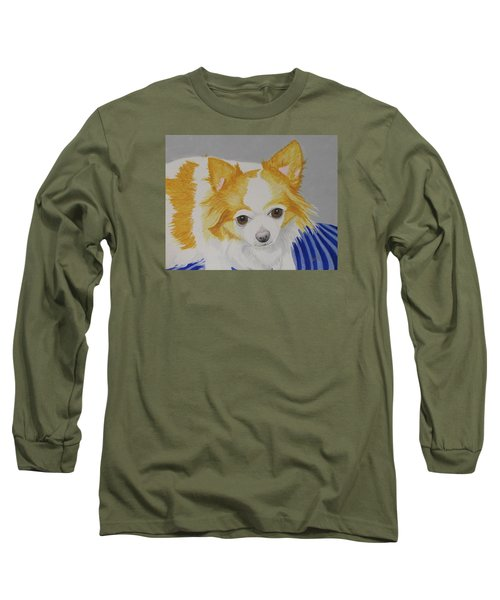 Long Sleeve T-Shirt featuring the painting Long-haired Chihuahua by Hilda and Jose Garrancho