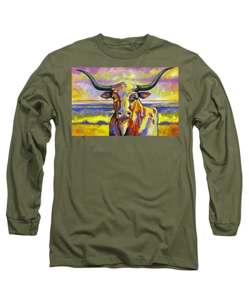 Long Horn At Sunset Long Sleeve T-Shirt