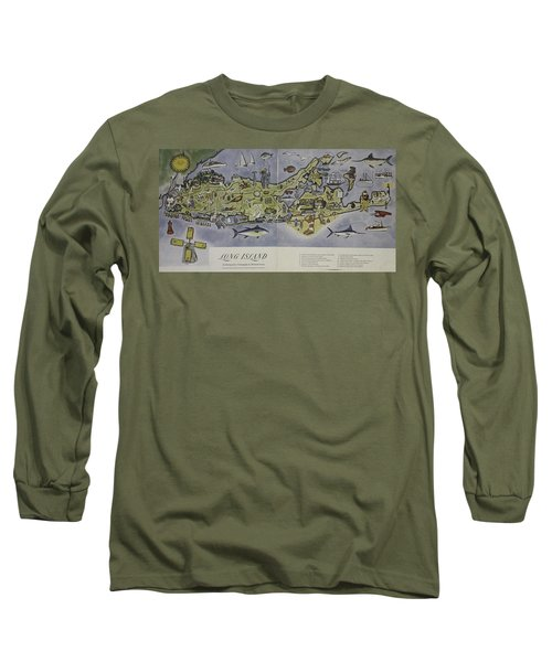 Long Sleeve T-Shirt featuring the photograph Long Island An Interpretive Cartograph by Duncan Pearson