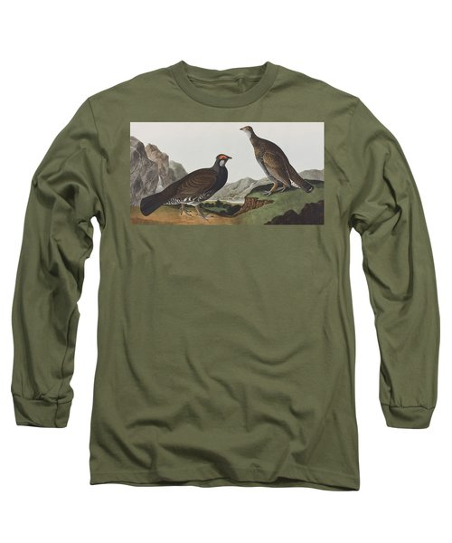 Long-tailed Or Dusky Grous Long Sleeve T-Shirt by John James Audubon