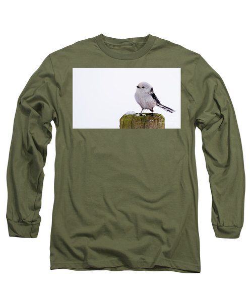 Long Sleeve T-Shirt featuring the photograph Long-tailed Tit On The Pole by Torbjorn Swenelius
