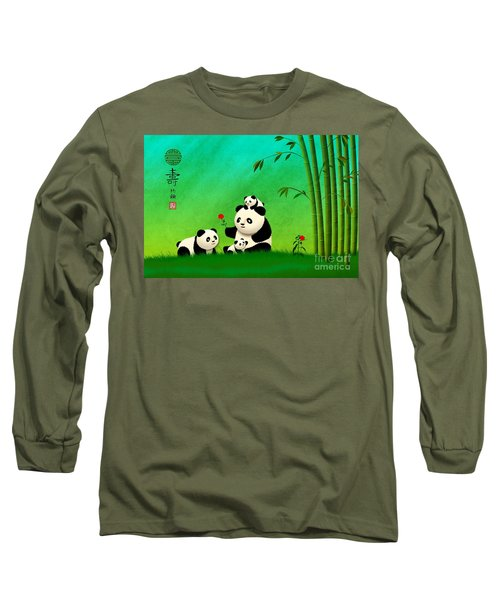 Longevity Panda Family Asian Art Long Sleeve T-Shirt by John Wills