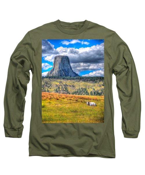 Longhorn At Devils Tower Long Sleeve T-Shirt