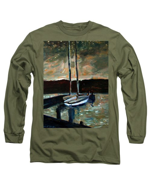 Long Sleeve T-Shirt featuring the painting Looking Across Upper Lake Camp Wayne by Charlie Spear