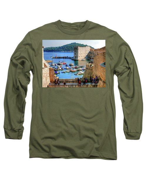 Looking Out Onto Dubrovnik Harbour Long Sleeve T-Shirt