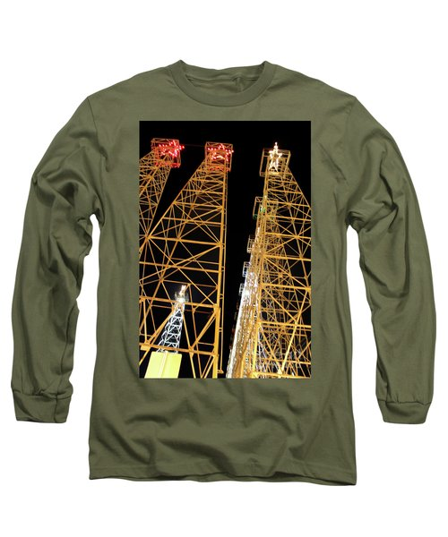 Looking Up At The Kilgore Lighted Derricks Long Sleeve T-Shirt by Kathy  White