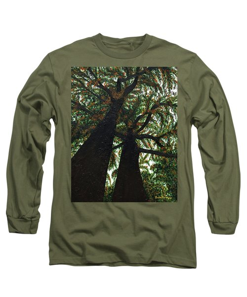 Looking Up Long Sleeve T-Shirt by Donna Manaraze