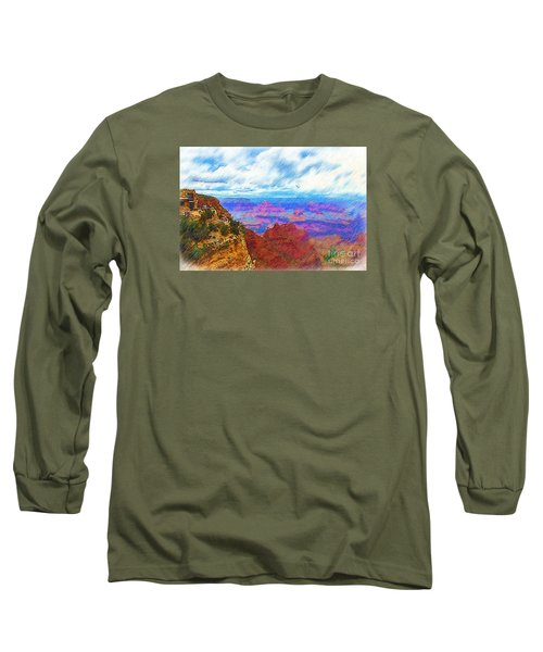 Long Sleeve T-Shirt featuring the digital art Lookout Studio Sketched by Kirt Tisdale