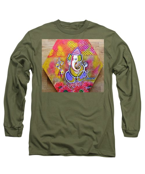 Lord Ganesha With Mantra Om Gam Ganapateye Namaha Long Sleeve T-Shirt