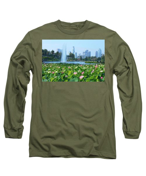 Lotus Blooms And Los Angeles Skyline Long Sleeve T-Shirt