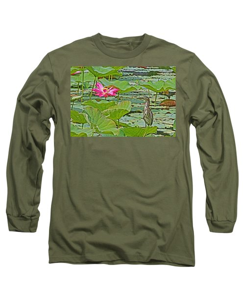 Lotus Blossom And Heron Long Sleeve T-Shirt