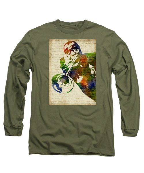 Louis Armstrong Watercolor Long Sleeve T-Shirt by Mihaela Pater
