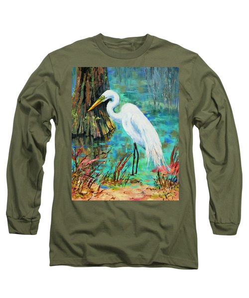 Louisiana Male Egret Long Sleeve T-Shirt by Dianne Parks