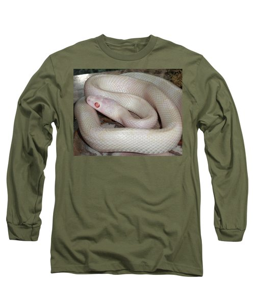Luna White Snake Long Sleeve T-Shirt by Patricia McNaught Foster