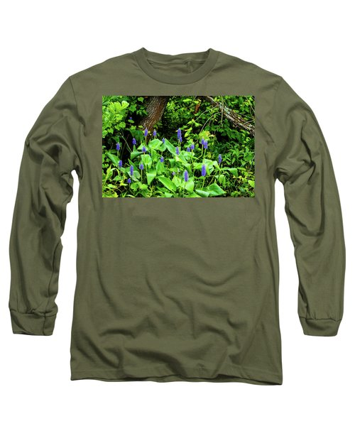Lush Purple Flowers In The Woods Long Sleeve T-Shirt