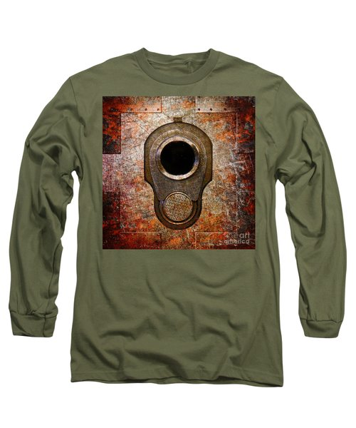 M1911 Muzzle On Rusted Riveted Metal Long Sleeve T-Shirt