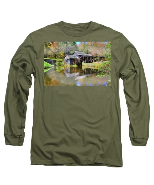 Long Sleeve T-Shirt featuring the digital art Mabry Grist Mill by Sharon Batdorf