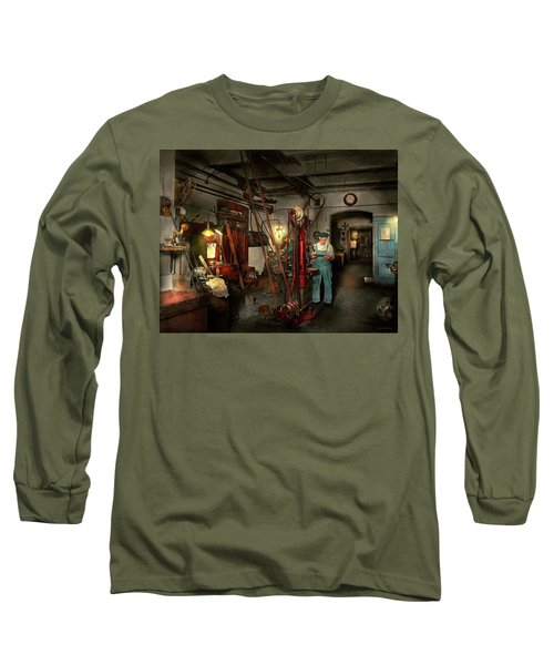 Long Sleeve T-Shirt featuring the photograph Machinist - Government Approved 1919 by Mike Savad