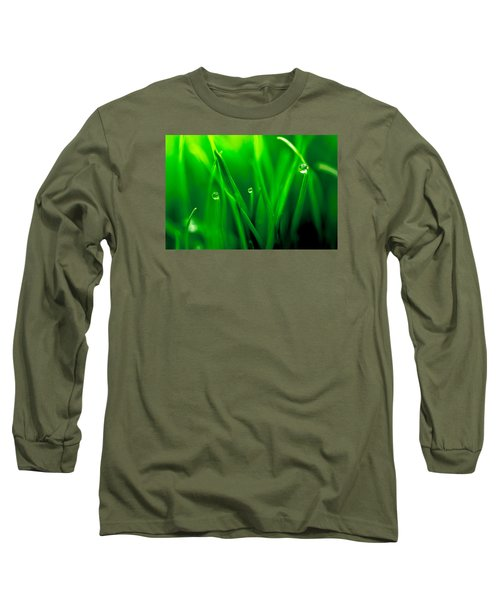 Macro Image Of Fresh Green Grass Long Sleeve T-Shirt by John Williams
