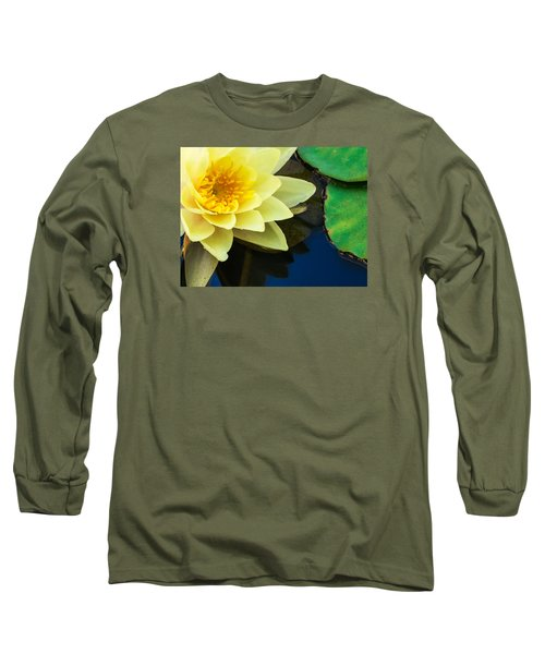 Macro Image Of Yellow Water Lilly Long Sleeve T-Shirt by John Williams