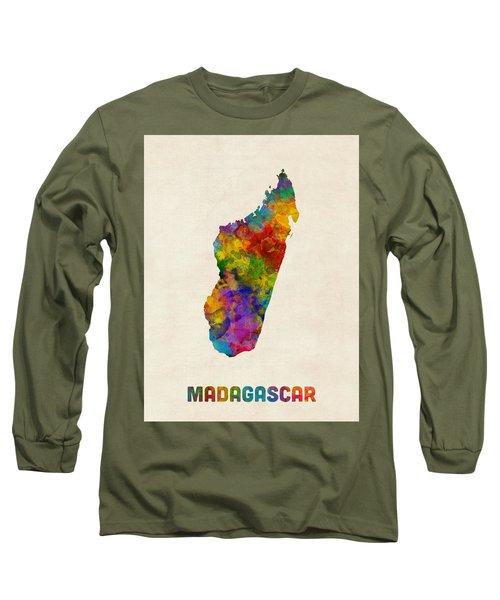 Long Sleeve T-Shirt featuring the digital art Madagascar Watercolor Map by Michael Tompsett