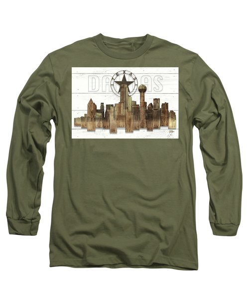 Made-to-order Dallas Texas Skyline Wall Art Long Sleeve T-Shirt