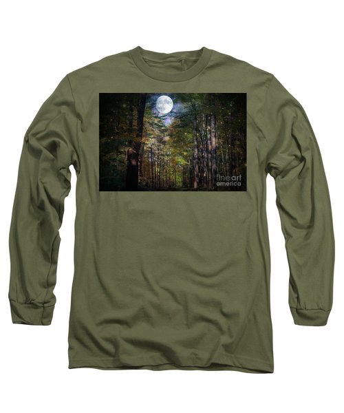 Magical Moonlit Forest Long Sleeve T-Shirt by Judy Palkimas