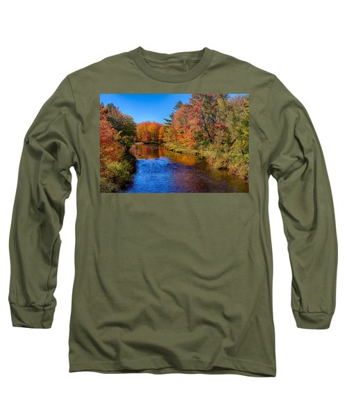 Maine Brook In Afternoon With Fall Color Reflection Long Sleeve T-Shirt