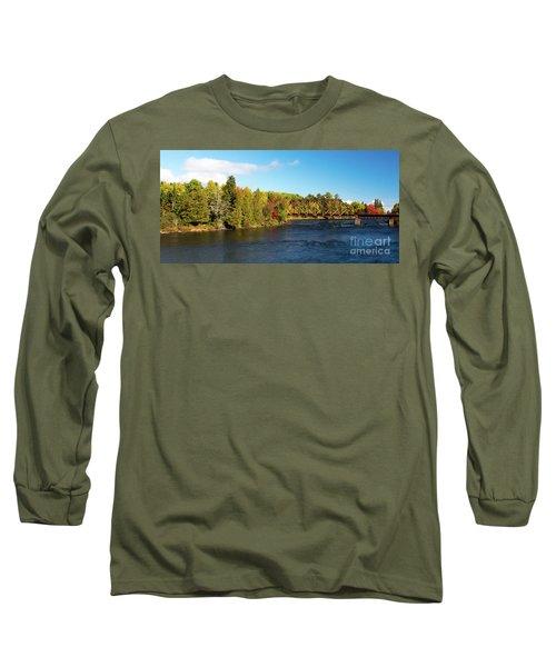 Maine Rail Line Long Sleeve T-Shirt by Sandy Molinaro