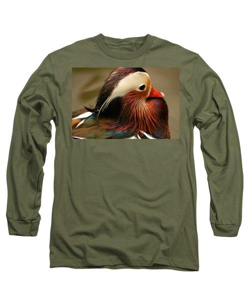 Male Mandarin Duck China Long Sleeve T-Shirt by Ralph A  Ledergerber-Photography