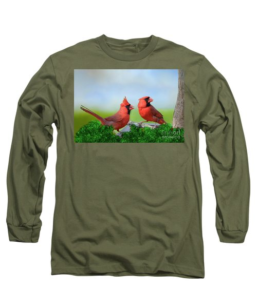 Male Northern Cardinals In Spring Long Sleeve T-Shirt by Bonnie Barry
